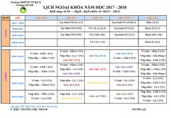 Thời khóa biểu ngoại khóa năm học 2017 - 2018